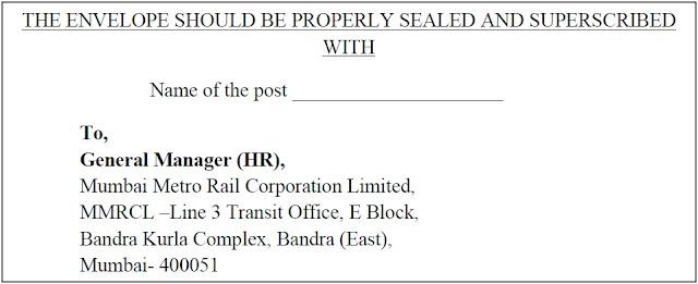 Postal Address for Mumbai Metro Rail Corporation Limited Recruitment