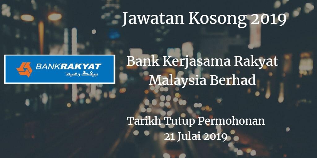 Jawatan Kosong Bank Kerjasama Rakyat Malaysia Berhad 21 Julai 2019