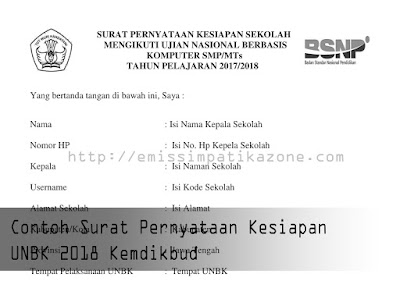 Contoh Surat Pernyataan Kesiapan UNBK 2018 Kemdikbud