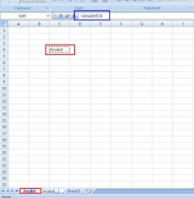 panduan cara yang cepat dan tepat apabila mengambil data dari sheet lain di file yang sama di excel 2007, 2010, dan 2013
