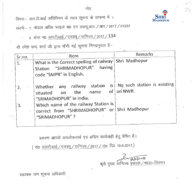 shri madhopur name according indian railway