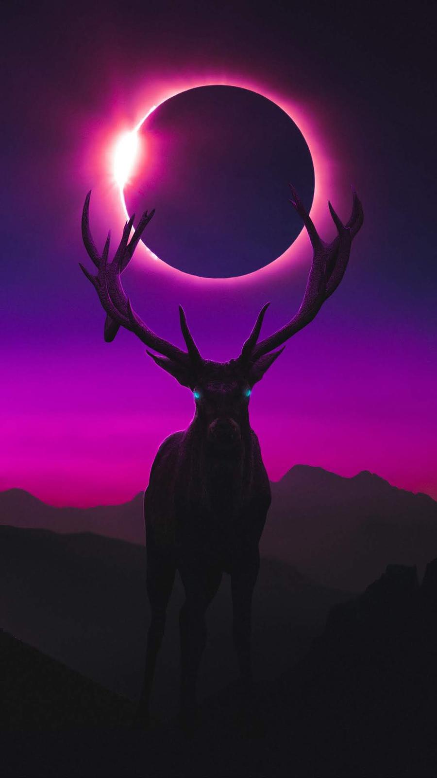 Deer digital art mobile wallpaper