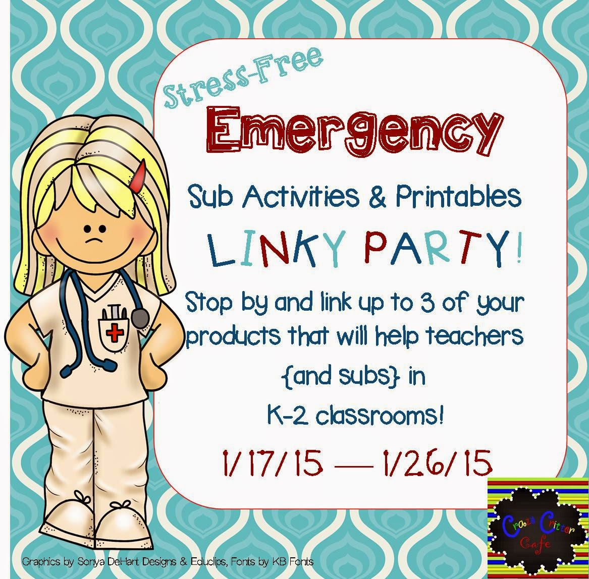 Crazy Critter Cafe Stress Free Emergency Sub Tubs Activities Amp Printables Linky