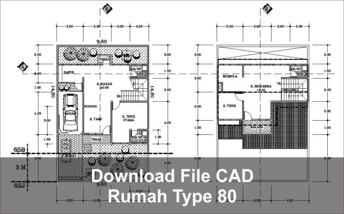 download rumah type 80 cad dwg