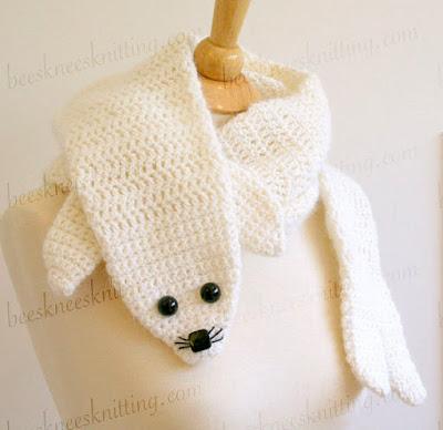 Crochet white seal Scarf