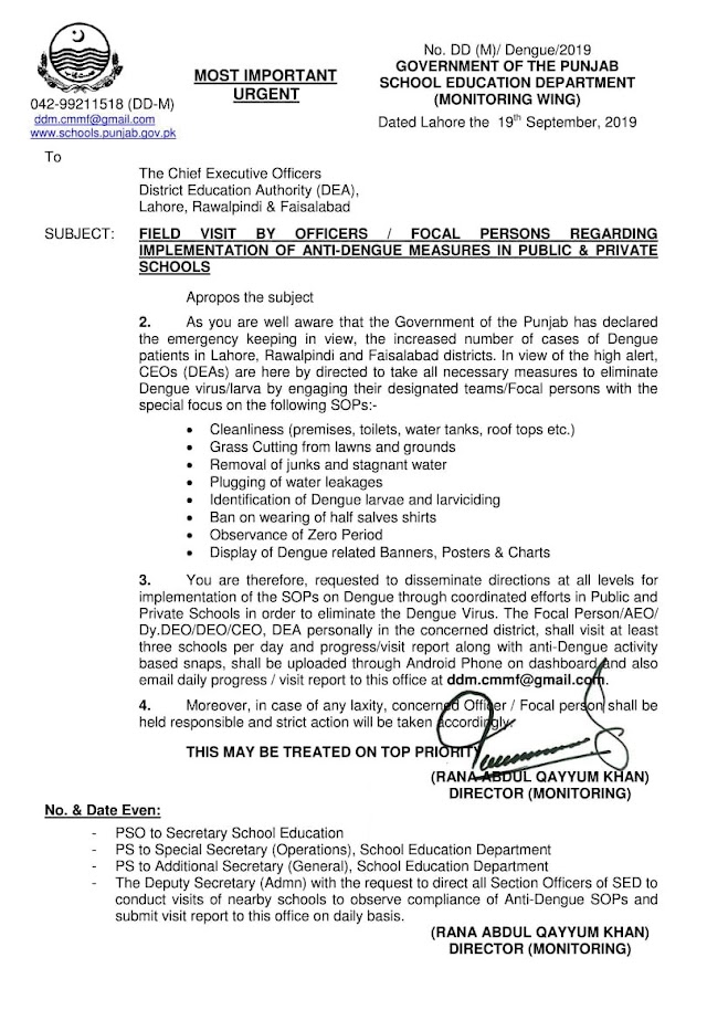 IMPLEMENTATION OF ANTI-DENGUE MEASURES IN PUBLIC & PRIVATE SCHOOLS