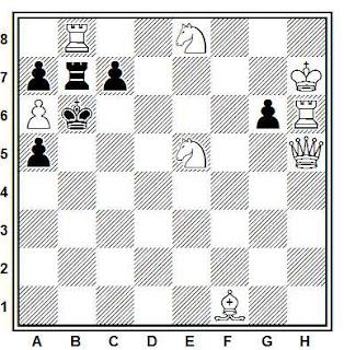 Problema de mate en 2 compuesto por Juan Zaldo (Ajedrez Español nº 10, 1956)