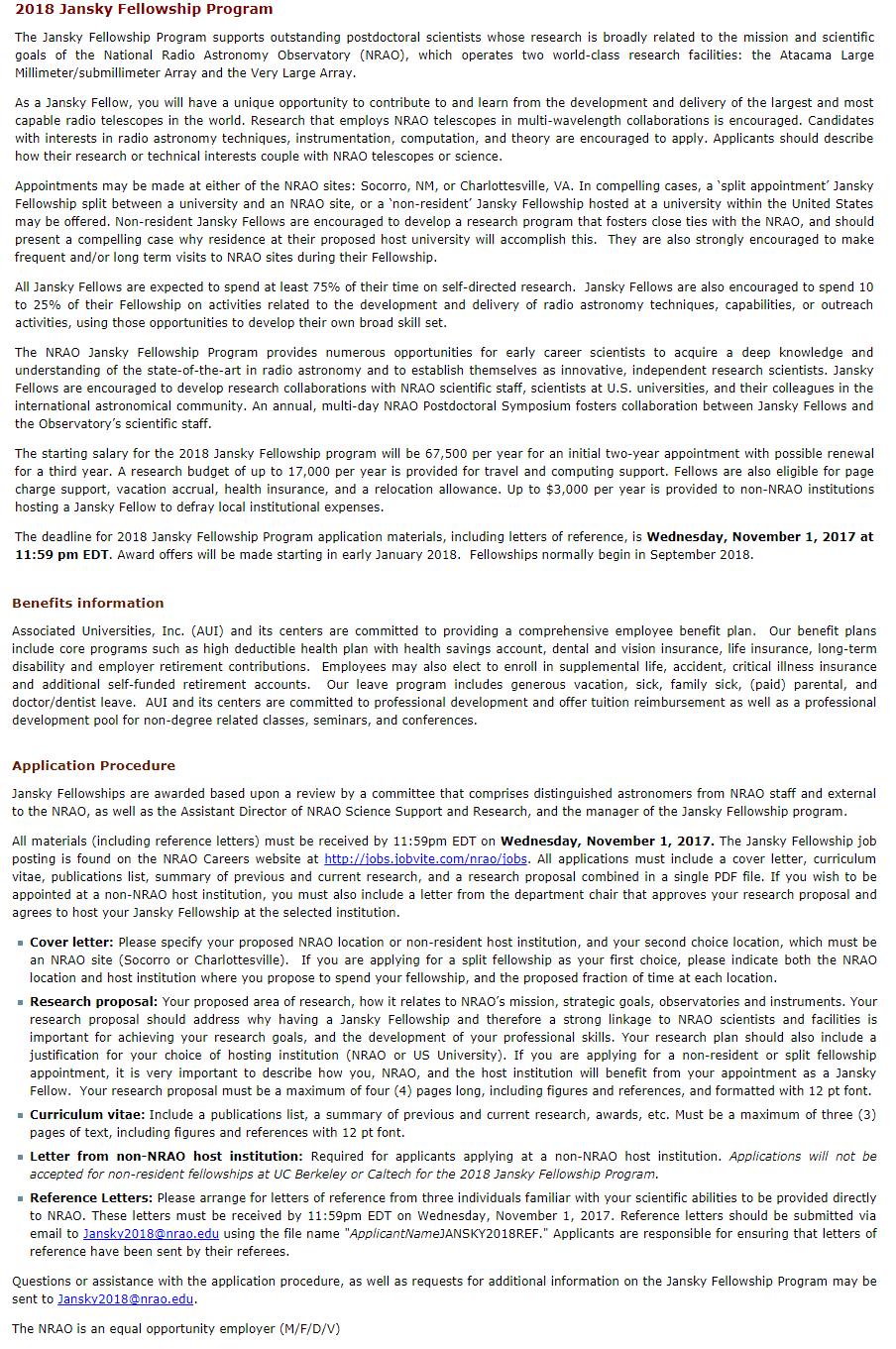 NRAO Jansky Postdoctoral Fellowship Program for International Students in USA