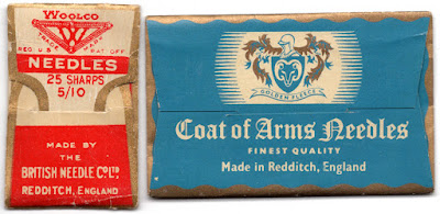 Packages of sewing needles from Redditch.