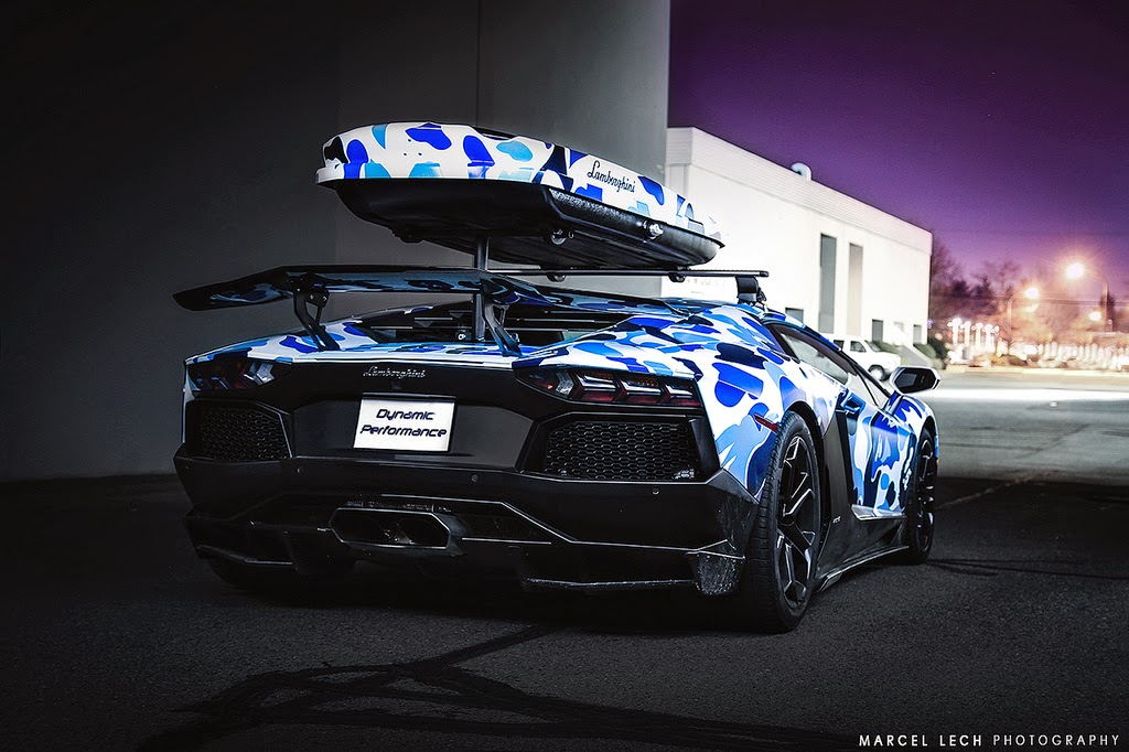 Passion For Luxury Lamborghini Arctic Camo Aventador With Ski Box