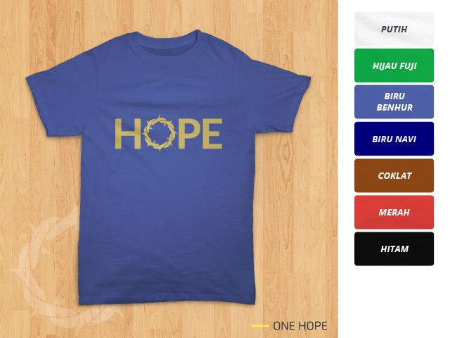 Tampilan kaos 'One Hope' di dasar warna biru benhur