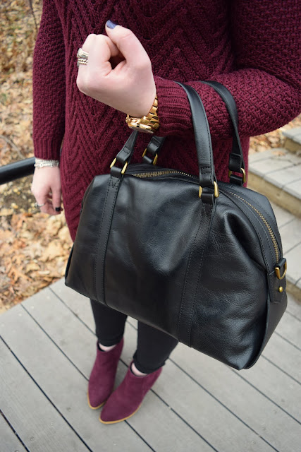 Sequins and Skulls: Cozy Burgundy Sweater