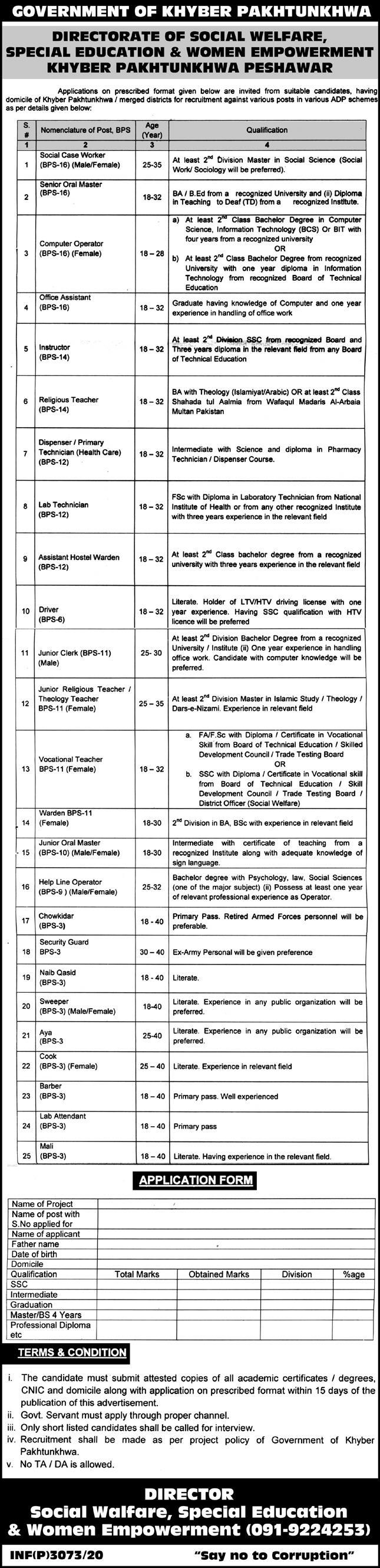 Directorate of Social Welfare Special Education and Women Empowerment KPK Peshawar Jobs 2020 Latest