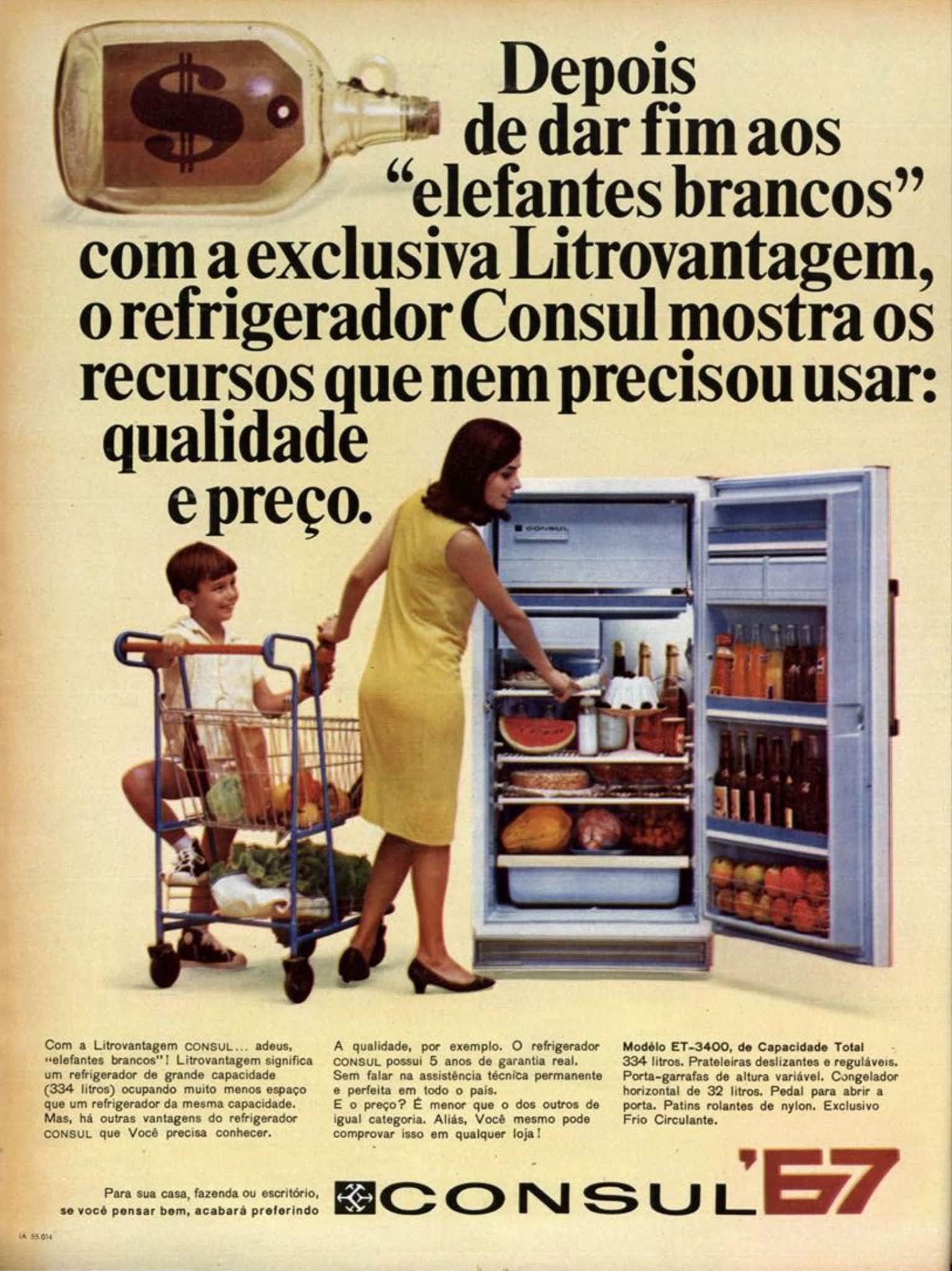 Anúncio antigo do Refrigerador Consul veiculado em 1967