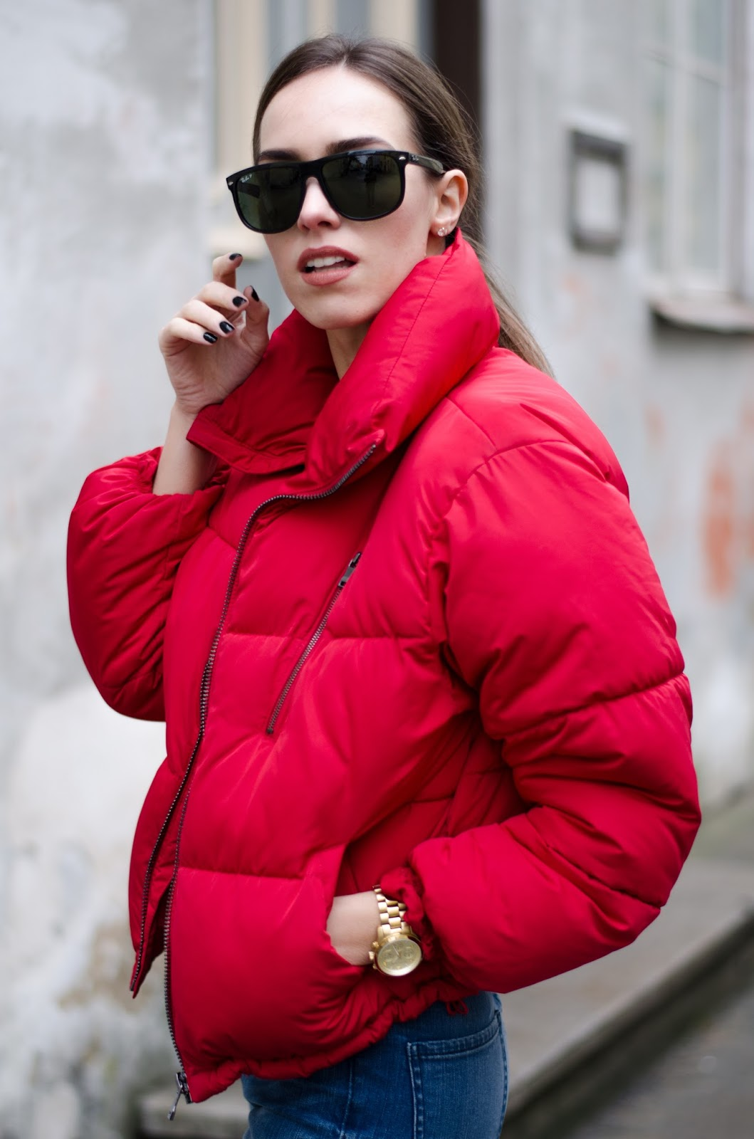 bershka red puffer jacket