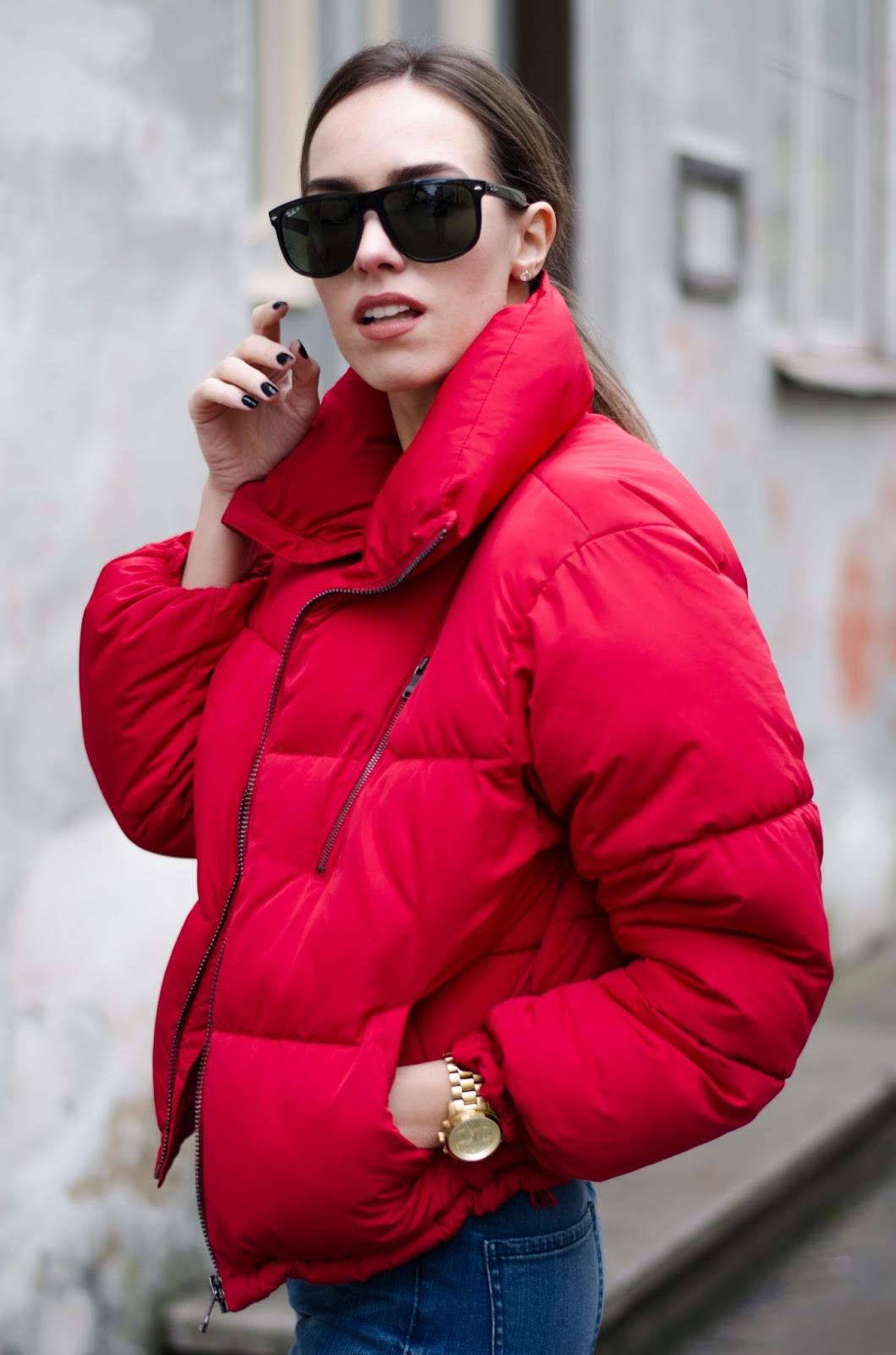 bershka red puffer jacket