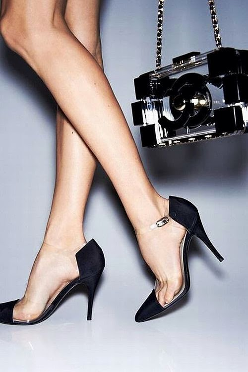 Chanel transparent black toe heels