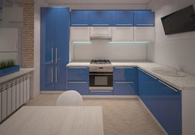 blue modular kitchen ideas and cabinet designs for modern homes