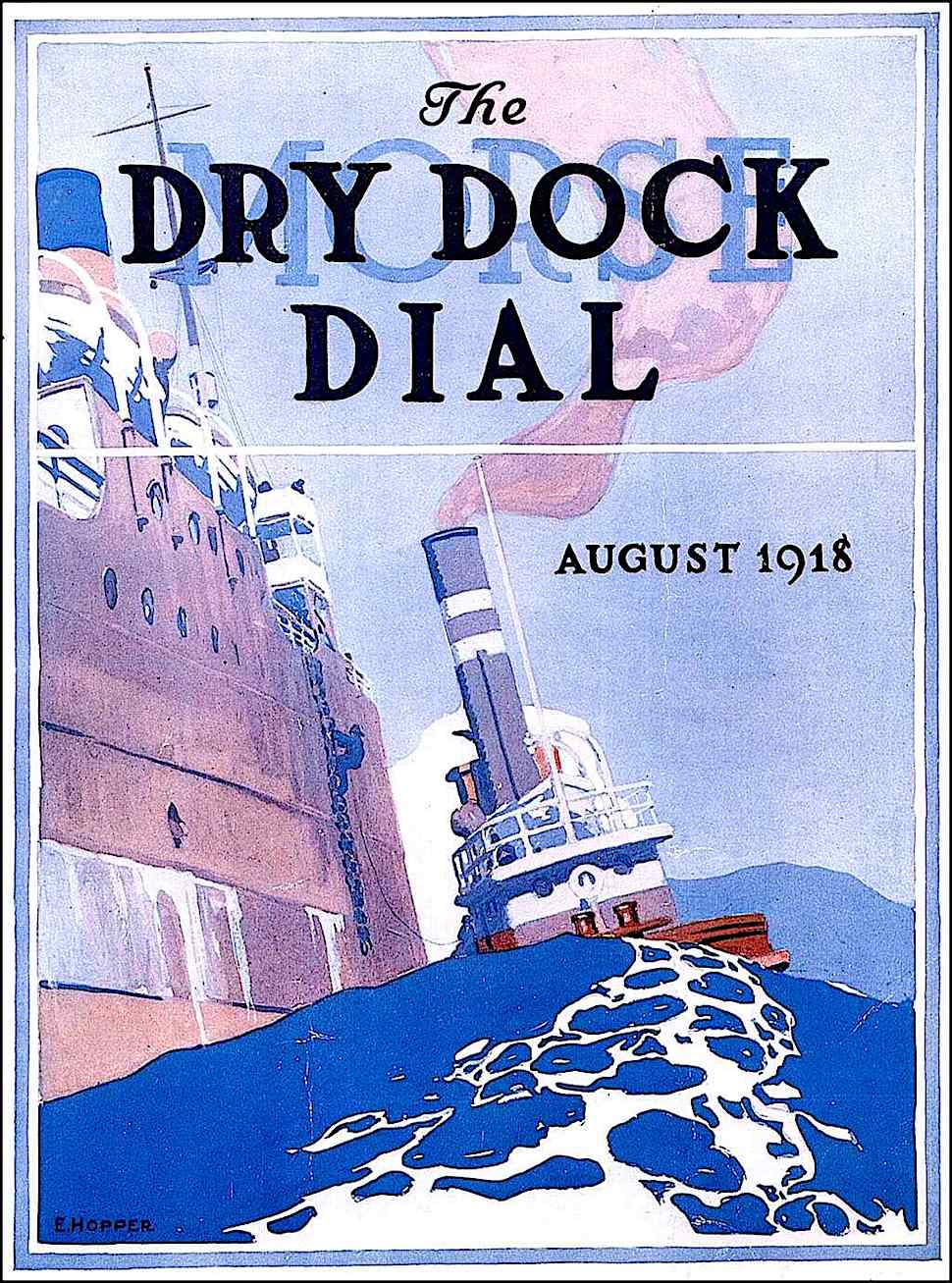 an Edward Hopper illustration for the August 1918 Dry Dock Dial publication, a tugboat riding a swell