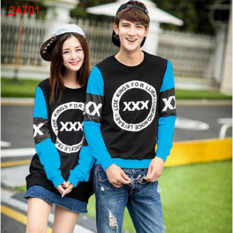 Jual Sweater Couple Sweater Triple X Black Turquise - 24701