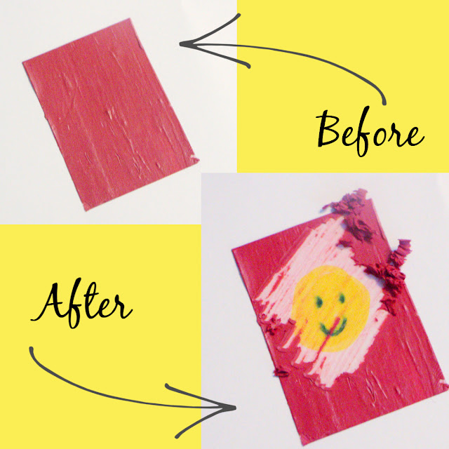 Cover the image you want with a homemade scratch-off sticker for extra summer reading fun.