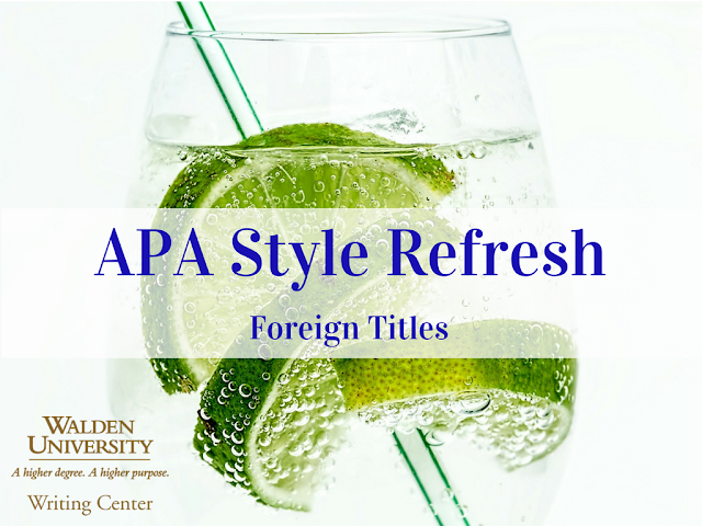 APA Style Refresh: Foreign Titles