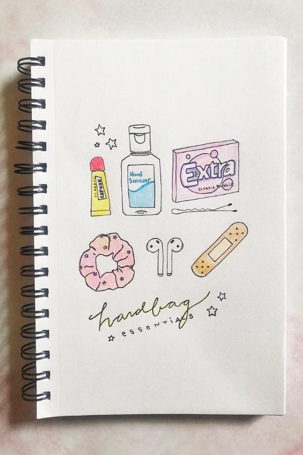 handbag essentials illustration