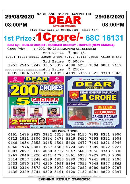 Lottery Sambad Result 29.08.2020 Dear Ostrich Evening 8:00 pm