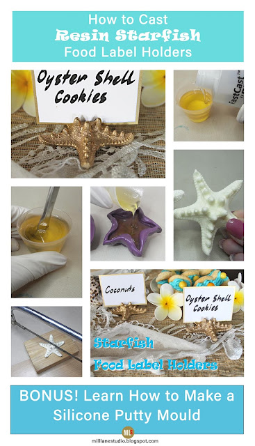 Step-by-step tutorial for how to cast resin starfish food label holders with quick-curing FastCast resin.
