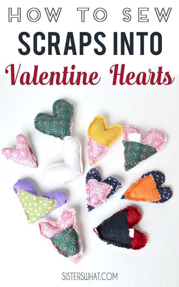 how to sew fabric scraps into valentine hearts