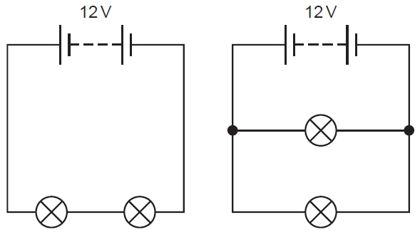 lamps in parallel circuits to measure currents in parallel circuits