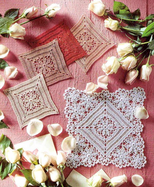 Lace Doily And Squares Coasters With flowers