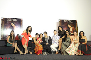 Vidya Balan with Ila Arun Gauhar Khan and other girls and star cast at Trailer launch of move Begum Jaan 014.JPG