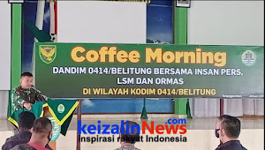 Jalin Silaturahmi , Letkol Inf M. Akbar M., S.E, M.I.Pol Dandin 0414/ Belitung Ngopi Bareng Insan Pers, Lsm Dan Ormas