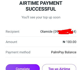 ₦100 airtime top up successful
