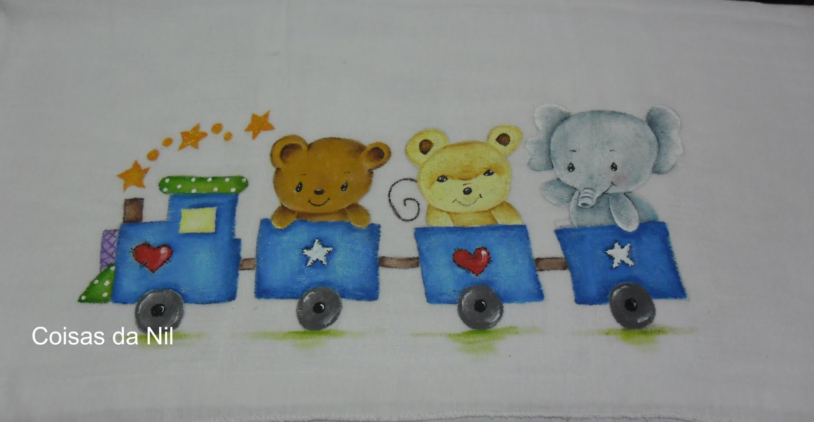 Coisas da nil pintura em tecido passeio de trenzinho - Pintura infantil pared ...