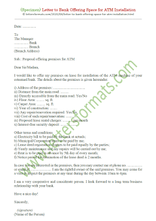 request letter to bank for atm machine installation