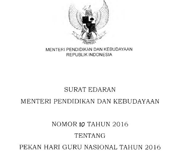 Surat Edaran Mendikbud Nomor 10 Tahun 2016 Tentang Pekan Hari Guru Nasional Tahun 2016