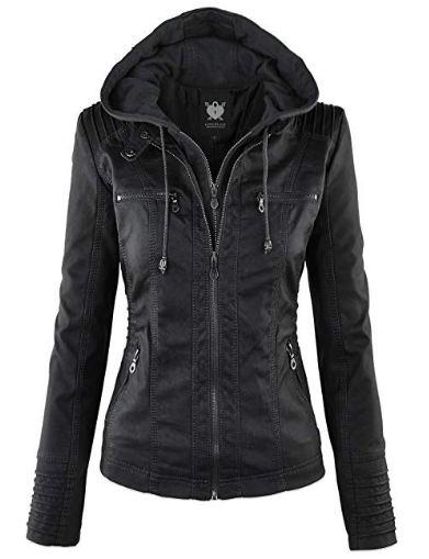 Lock and Love Women's Hooded Faux Leather Moto Biker Jacket
