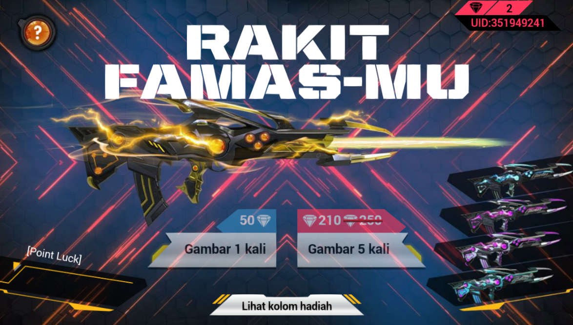 Event Menggambar Skin Famas Legendaris Black Widow Free Fire Retuwit