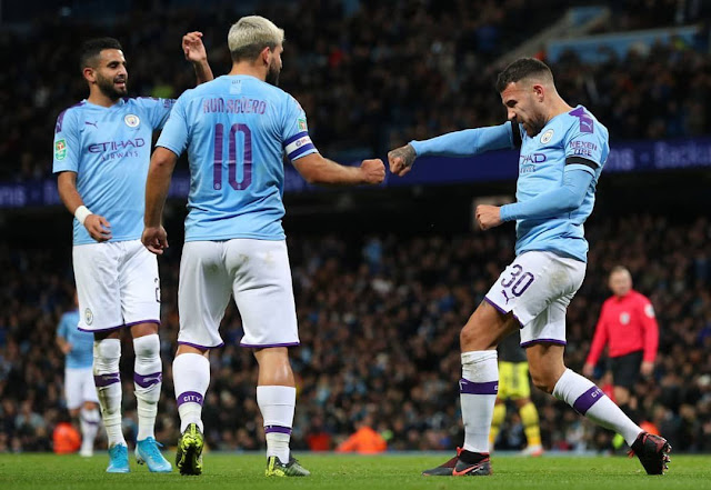 Kun Aguero and Otamendi celebrates a goal during Man City 3-1 win over Southampton in the Carabao cup