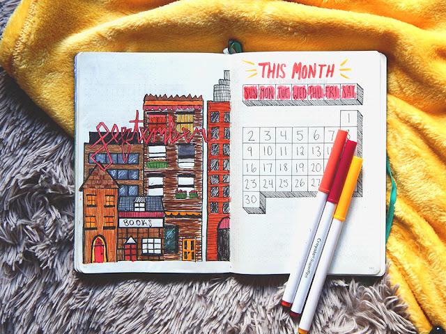 Bullet journal set-up September monthly spread