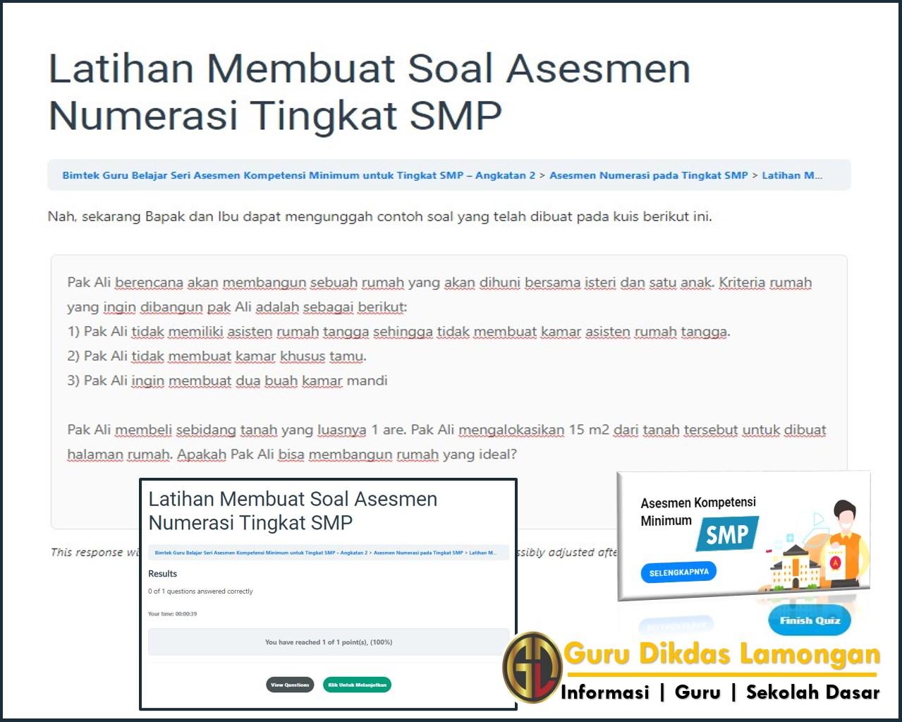Bimtek Akm Smp Tahap 6 Asesmen Numerasi Pada Tingkat Smp Simak Soal Dan Referensi Jawaban