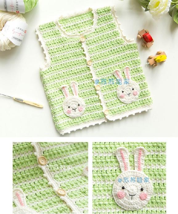 Схемы вязания детского жилета со зверюшками на карманах (1)
