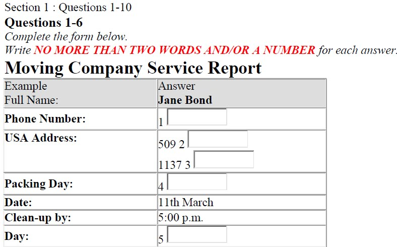 MOVING COMPANY SERVICE REPORT (IELTS LISTENING TEST)