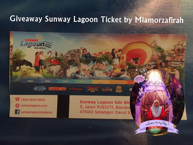 Giveaway Sunway Lagoon Ticket by Miamorzafirah