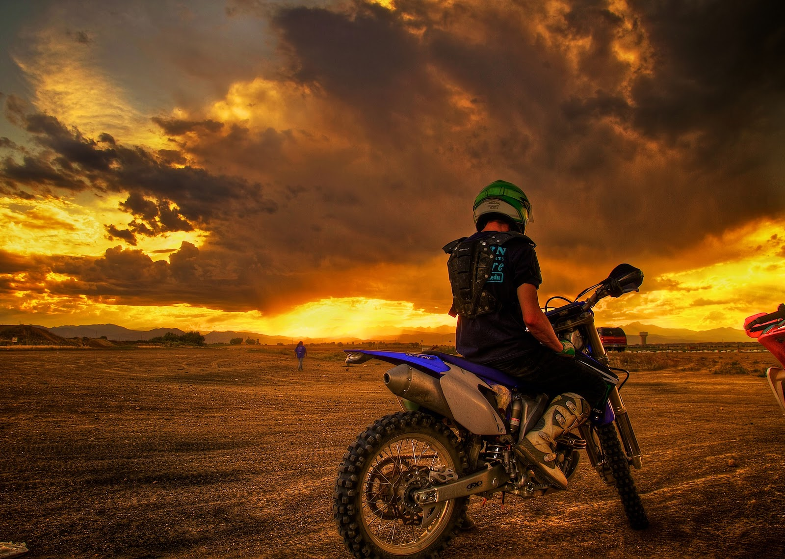 motorcyclist, motorcycle, sunset wallpaper, background