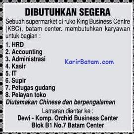 Lowongan Kerja Supermarket KBC Batam Centre