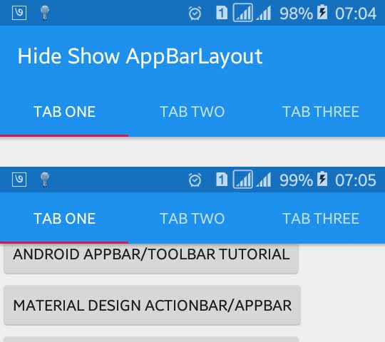 Android Example: Hide and Show Toolbar/AppBarLayout Along with Scroll