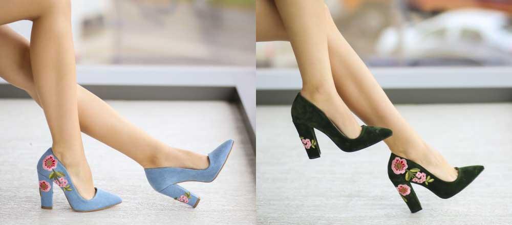 Pantofi Stiletto cu toc gros piele intoarsa verzi, albastri de zi cu model cu flori
